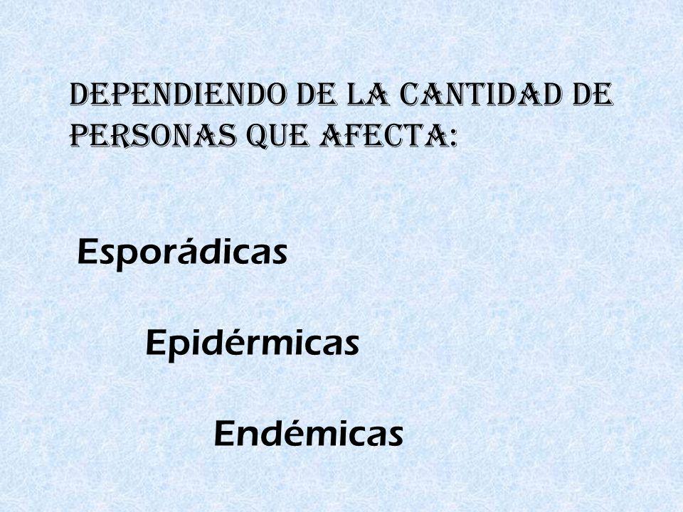 Esporádicas Epidérmicas Endémicas DEPENDIENDO DE LA CANTIDAD DE PERSONAS QUE AFECTA: