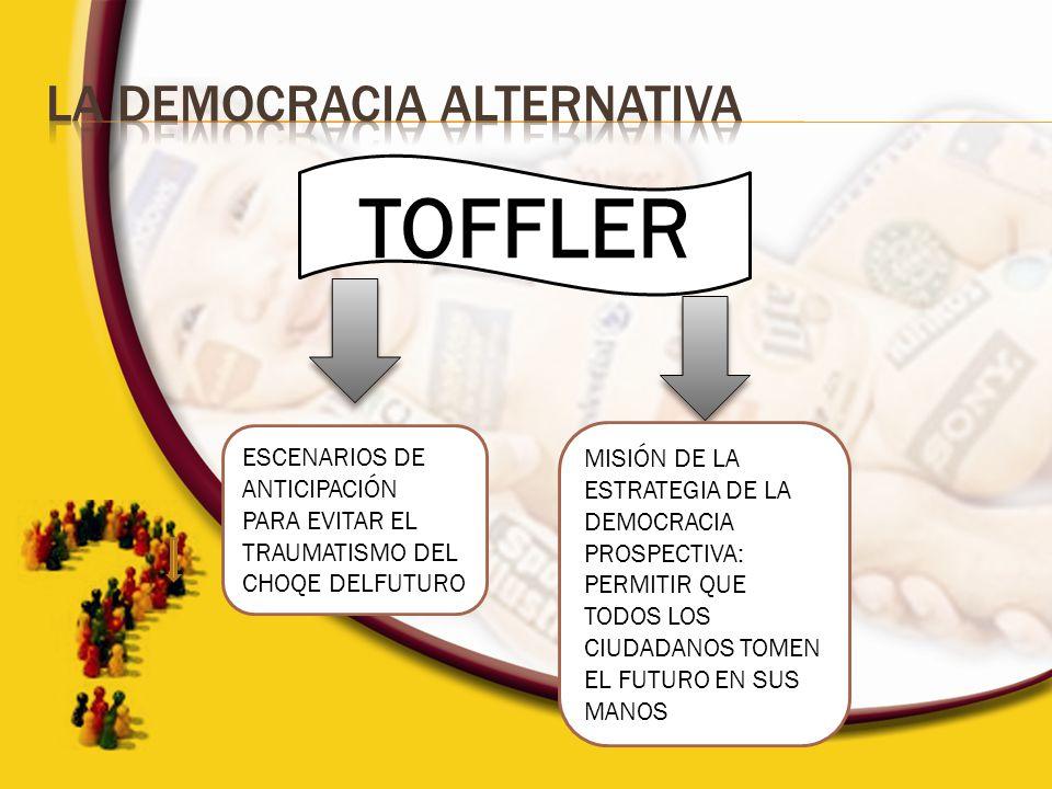 TOFFLER ESCENARIOS DE ANTICIPACIÓN PARA EVITAR EL TRAUMATISMO DEL CHOQE DELFUTURO MISIÓN DE LA ESTRATEGIA DE LA DEMOCRACIA PROSPECTIVA: PERMITIR QUE T