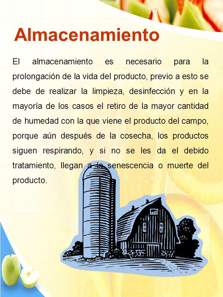Almacenamiento El almacenamiento es necesario para la prolongación de la vida del producto, previo a esto se debe de realizar la limpieza, desinfecció