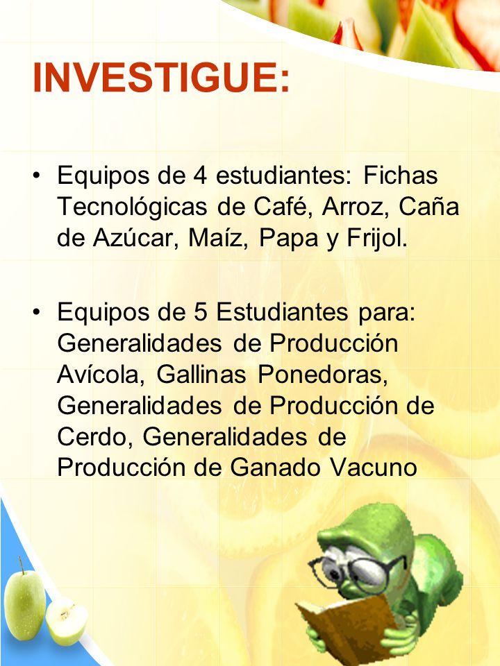 INVESTIGUE: Equipos de 4 estudiantes: Fichas Tecnológicas de Café, Arroz, Caña de Azúcar, Maíz, Papa y Frijol. Equipos de 5 Estudiantes para: Generali