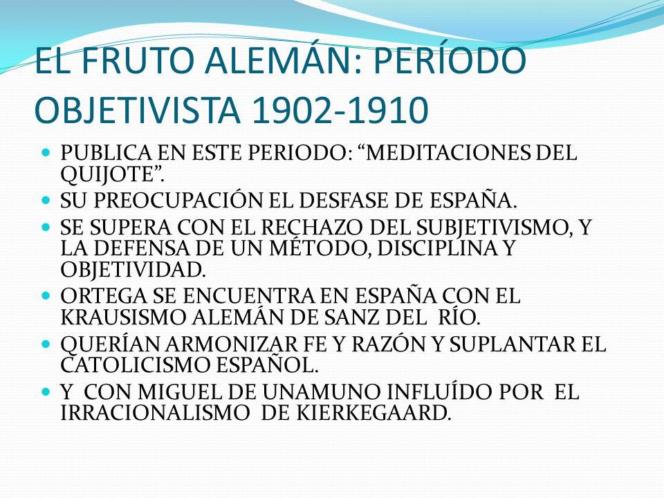 EL FRUTO ALEMÁN: PERÍODO OBJETIVISTA 1902-1910 PUBLICA EN ESTE PERIODO: MEDITACIONES DEL QUIJOTE. SU PREOCUPACIÓN EL DESFASE DE ESPAÑA. SE SUPERA CON