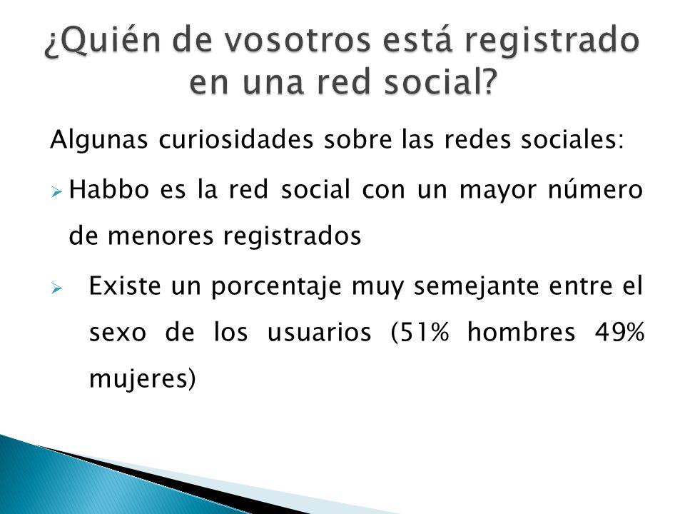 Algunas curiosidades sobre las redes sociales: Habbo es la red social con un mayor número de menores registrados Existe un porcentaje muy semejante entre el sexo de los usuarios (51% hombres 49% mujeres)