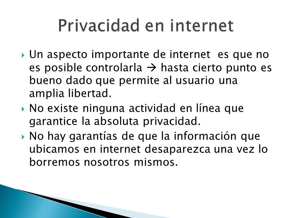 Un aspecto importante de internet es que no es posible controlarla hasta cierto punto es bueno dado que permite al usuario una amplia libertad.
