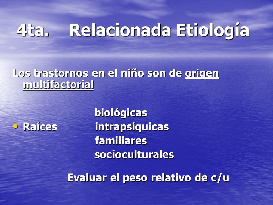 4ta. Relacionada Etiología Los trastornos en el niño son de origen multifactorial biológicas Raíces intrapsíquicas Raíces intrapsíquicas familiares fa