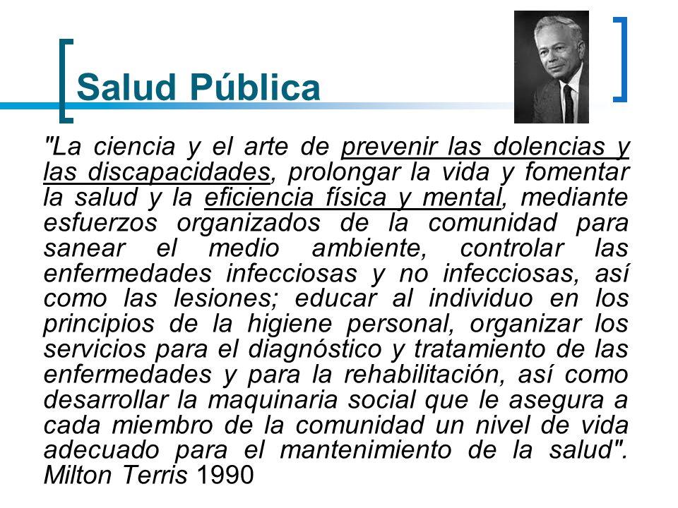 Salud Pública La Salud publica es la ciencia y el arte de organizar y dirigir los esfuerzos colectivos destinados a proteger, promover y restaurar la salud de los habitantes de una comunidad (Piedrola Gil 1991)
