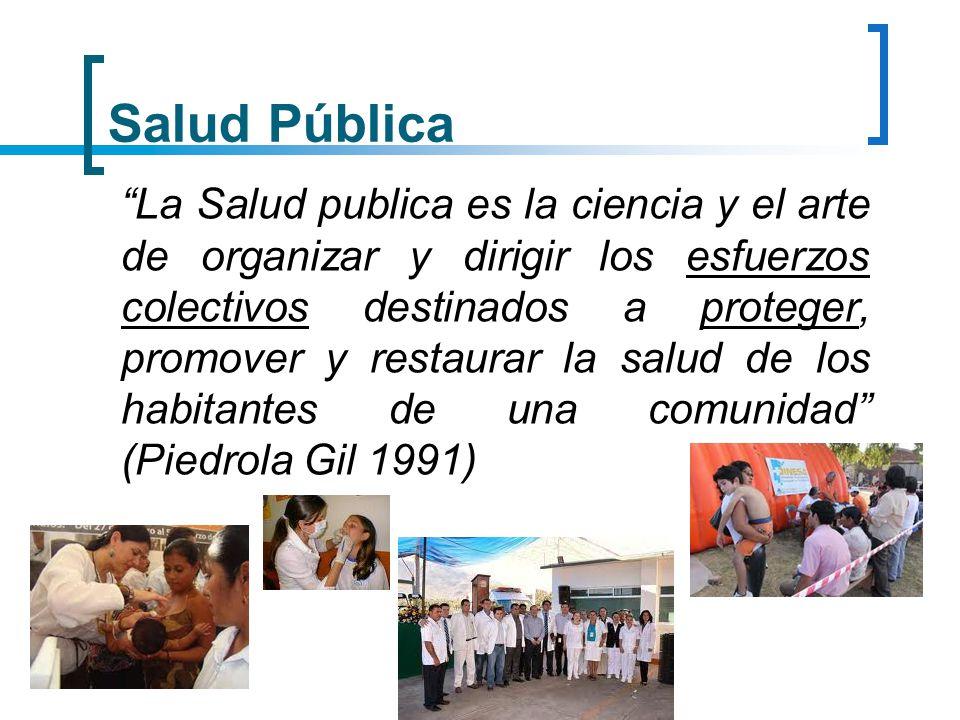 Salud Pública La Salud pública es el esfuerzo organizado de la sociedad, principalmente a través de sus instituciones de carácter publico, para mejorar, promover, proteger y restaurar la salud de las poblaciones por medio de actuaciones de alcance colectivo (OPS 2002)