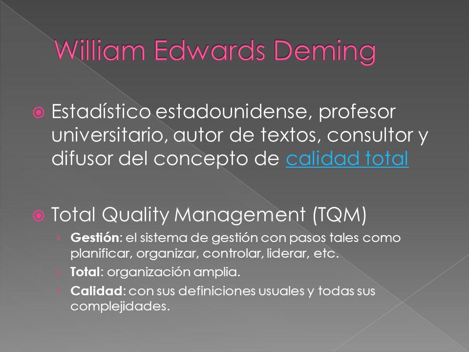 Estadístico estadounidense, profesor universitario, autor de textos, consultor y difusor del concepto de calidad totalcalidad total Total Quality Mana