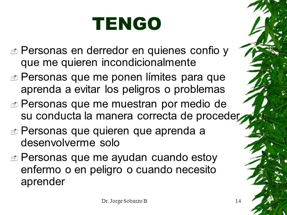 Dr. Jorge Sobarzo B14 TENGO Personas en derredor en quienes confio y que me quieren incondicionalmente Personas que me ponen límites para que aprenda