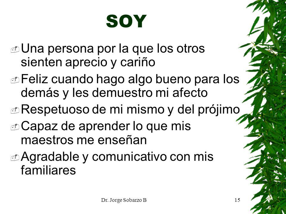 Dr. Jorge Sobarzo B15 SOY Una persona por la que los otros sienten aprecio y cariño Feliz cuando hago algo bueno para los demás y les demuestro mi afe