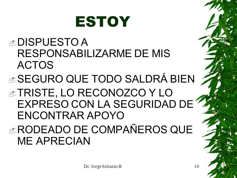 Dr. Jorge Sobarzo B16 ESTOY DISPUESTO A RESPONSABILIZARME DE MIS ACTOS SEGURO QUE TODO SALDRÁ BIEN TRISTE, LO RECONOZCO Y LO EXPRESO CON LA SEGURIDAD