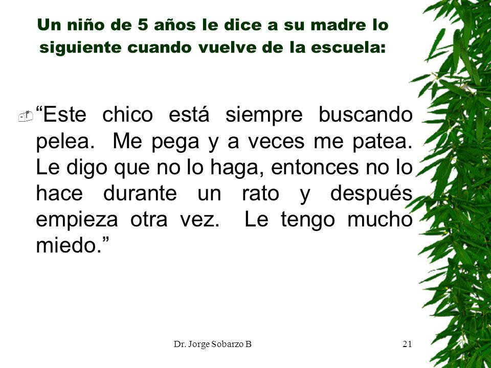Dr. Jorge Sobarzo B21 Un niño de 5 años le dice a su madre lo siguiente cuando vuelve de la escuela: Este chico está siempre buscando pelea. Me pega y