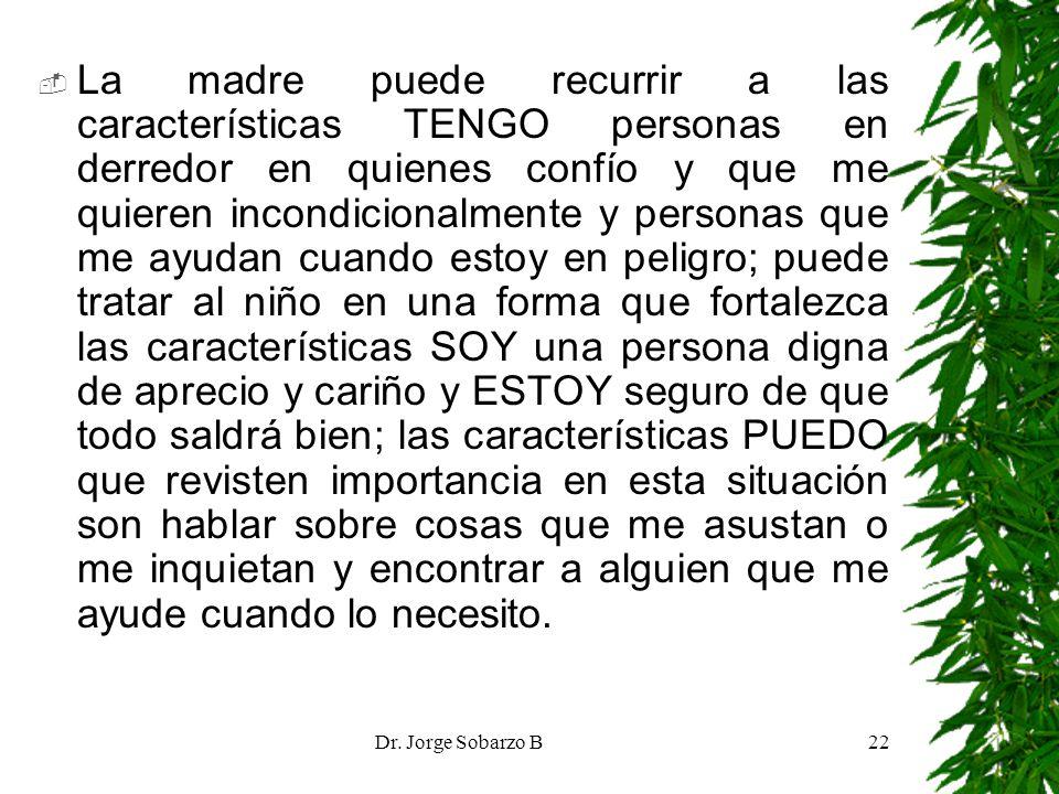 Dr. Jorge Sobarzo B22 La madre puede recurrir a las características TENGO personas en derredor en quienes confío y que me quieren incondicionalmente y