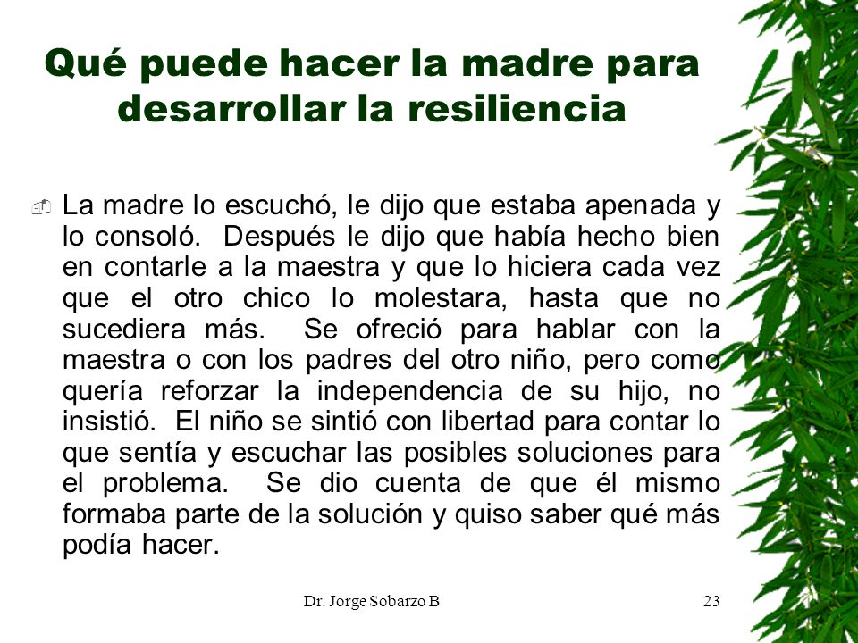 Dr. Jorge Sobarzo B23 Qué puede hacer la madre para desarrollar la resiliencia La madre lo escuchó, le dijo que estaba apenada y lo consoló. Después l