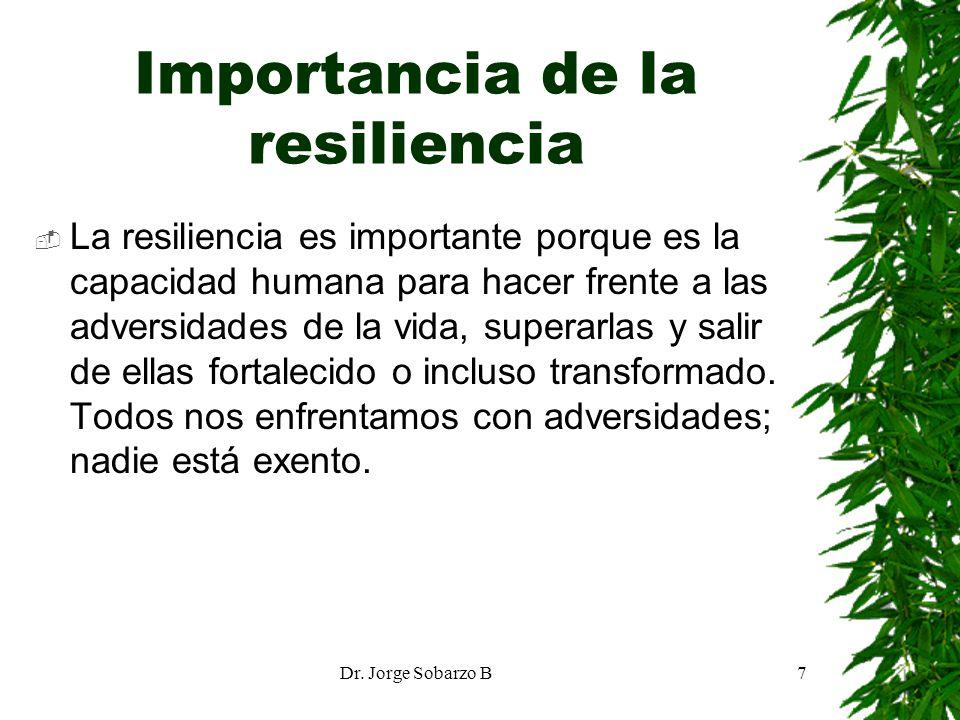 Dr. Jorge Sobarzo B7 Importancia de la resiliencia La resiliencia es importante porque es la capacidad humana para hacer frente a las adversidades de
