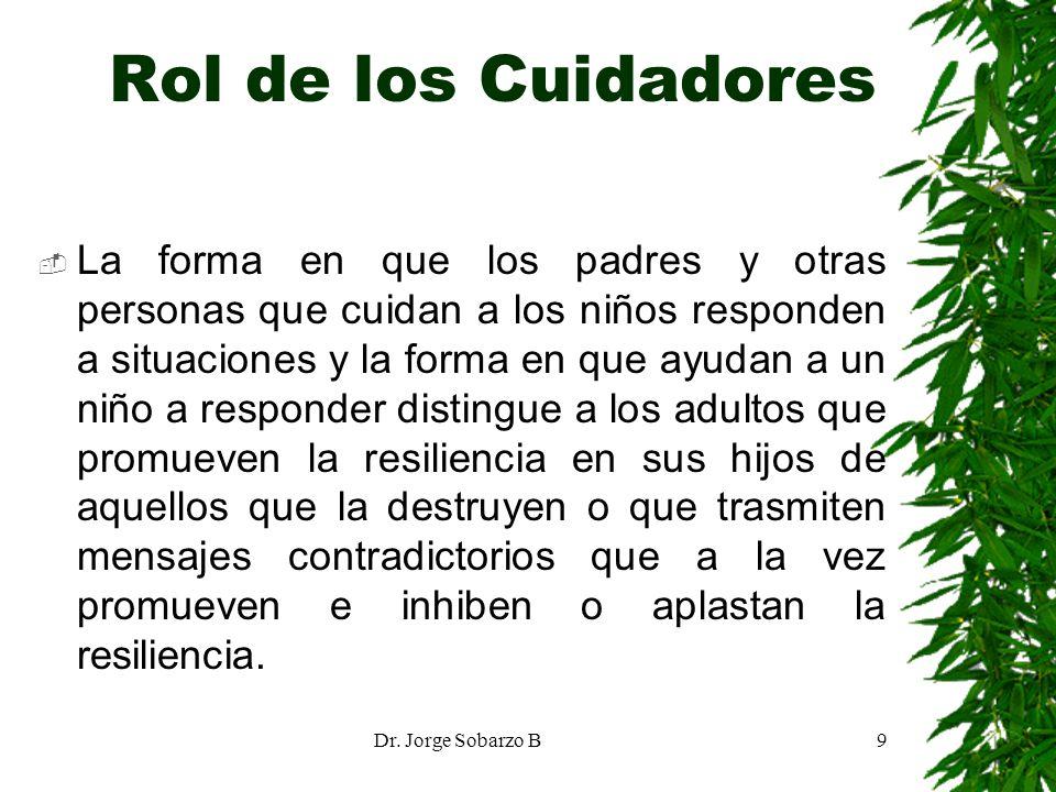 Dr. Jorge Sobarzo B9 Rol de los Cuidadores La forma en que los padres y otras personas que cuidan a los niños responden a situaciones y la forma en qu