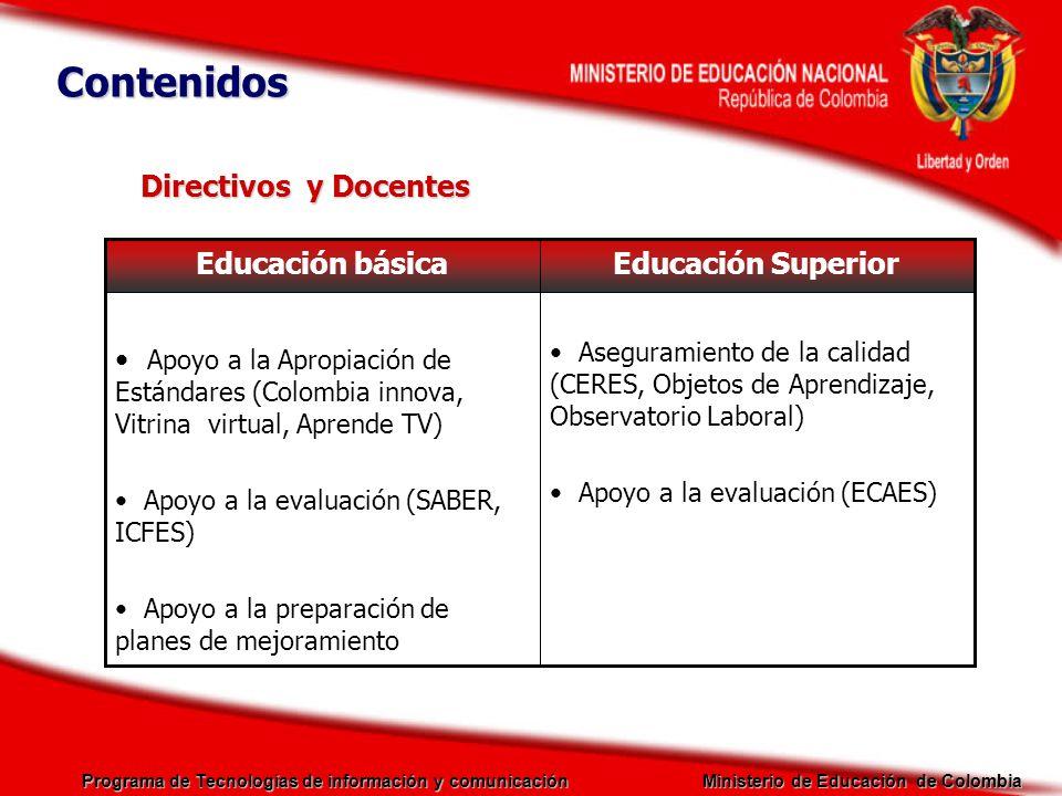 Programa de Tecnologías de información y comunicación Ministerio de Educación de Colombia Directivos y Docentes Educación SuperiorEducación básica Ase