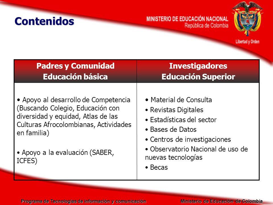 Programa de Tecnologías de información y comunicación Ministerio de Educación de Colombia Investigadores Educación Superior Padres y Comunidad Educaci