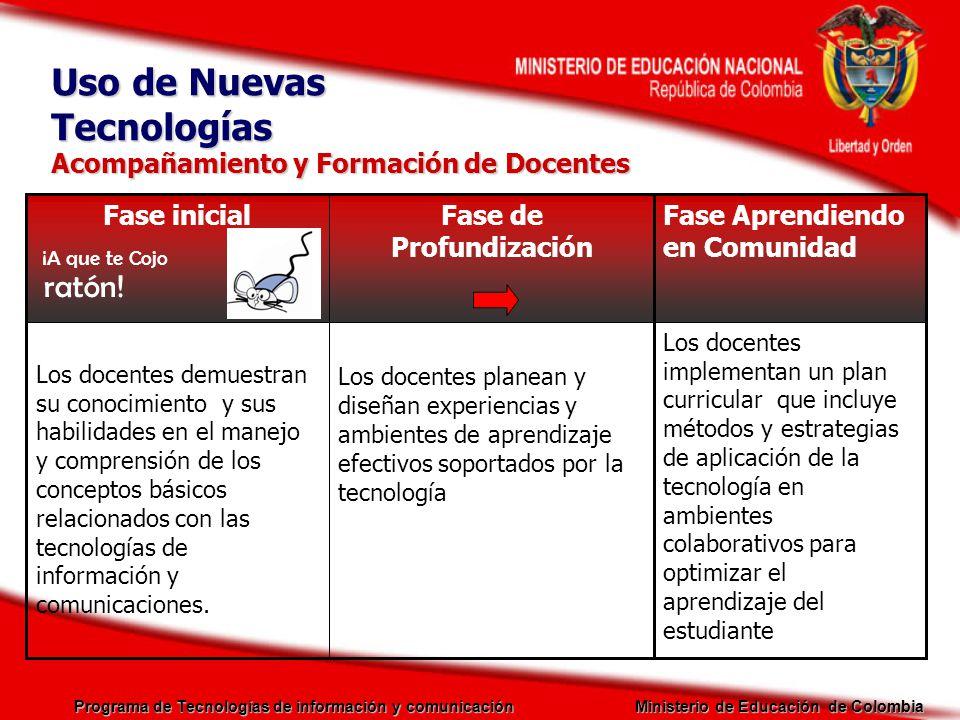 Programa de Tecnologías de información y comunicación Ministerio de Educación de Colombia Acompañamiento y Formación de Docentes Los docentes planean