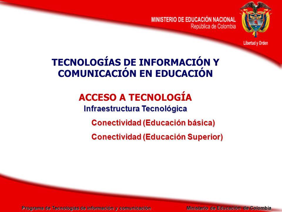 Programa de Tecnologías de información y comunicación Ministerio de Educación de Colombia TECNOLOGÍAS DE INFORMACIÓN Y COMUNICACIÓN EN EDUCACIÓN ACCES