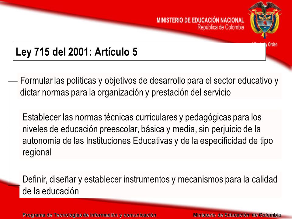 Programa de Tecnologías de información y comunicación Ministerio de Educación de Colombia Ley 715 del 2001: Artículo 5 Establecer las normas técnicas