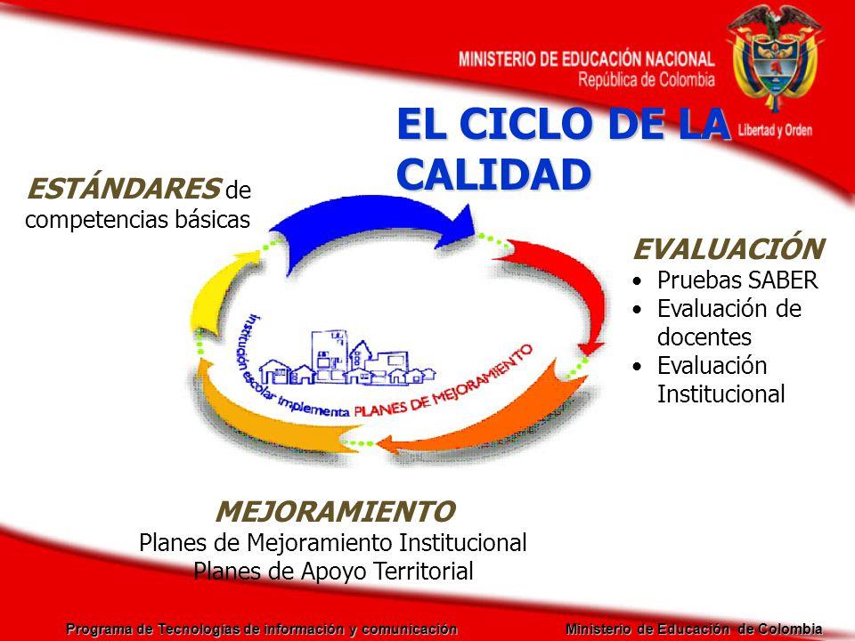 Programa de Tecnologías de información y comunicación Ministerio de Educación de Colombia Objetivo: Garantizar una infraestructura tecnológica que posibilite la fluidez de contenidos con procedimientos, métodos y estándares que propicien el desarrollo de la calidad, cobertura y eficiencia de la educación en los distintos grupo poblacionales del país.