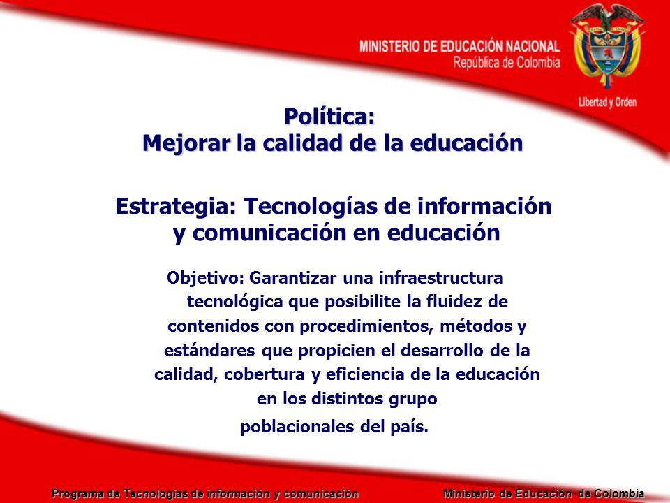 Programa de Tecnologías de información y comunicación Ministerio de Educación de Colombia Educación Superior Fortalecimiento de la Capacidad Institucional de las IES Docentes : Ambientes Virtuales de Aprendizaje Rectores: Calidad de la Educación Virtual Acompañamiento y Formación de Docentes Uso de Nuevas Tecnologías