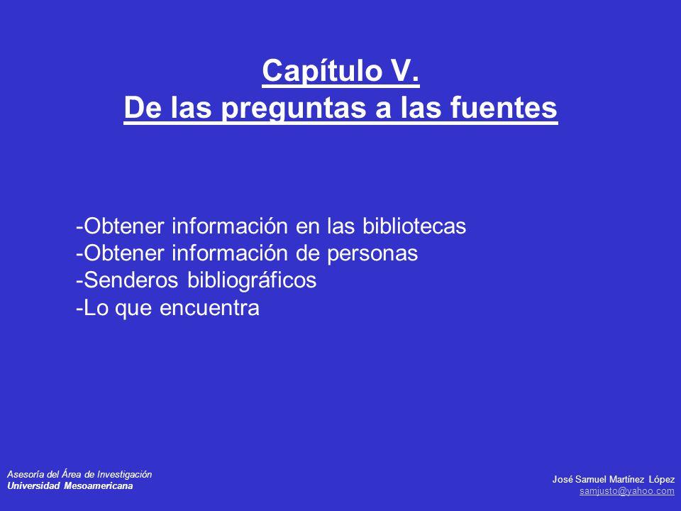 José Samuel Martínez López samjusto@yahoo.com Asesoría del Área de Investigación Universidad Mesoamericana -Obtener información en las bibliotecas -Ob