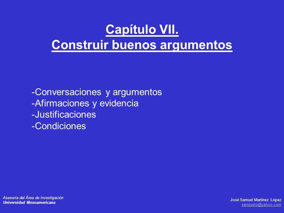 José Samuel Martínez López samjusto@yahoo.com Asesoría del Área de Investigación Universidad Mesoamericana -Conversaciones y argumentos -Afirmaciones