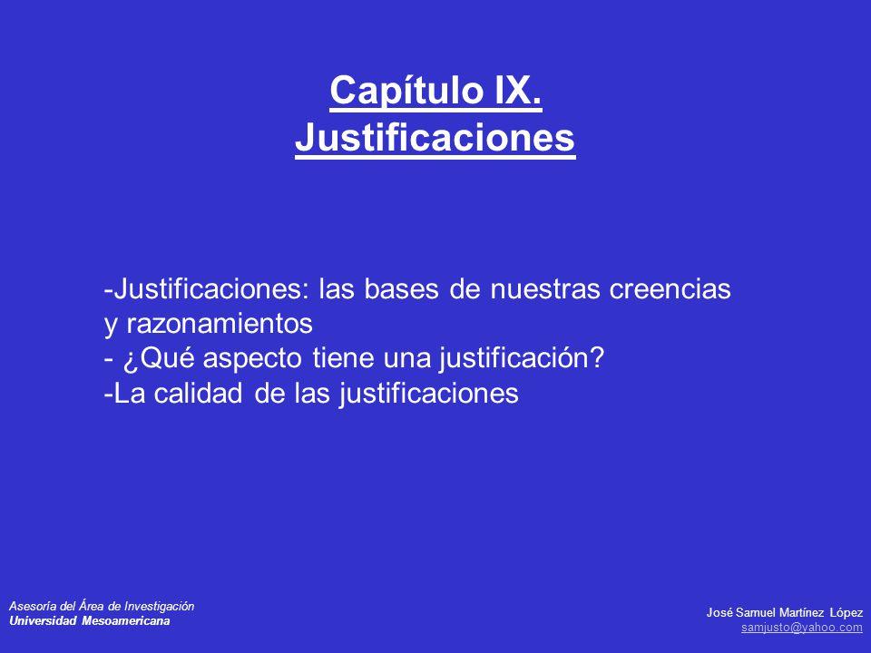 José Samuel Martínez López samjusto@yahoo.com Asesoría del Área de Investigación Universidad Mesoamericana -Justificaciones: las bases de nuestras cre