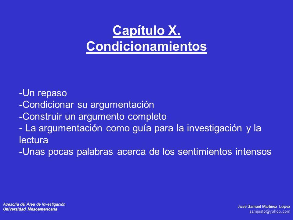 José Samuel Martínez López samjusto@yahoo.com Asesoría del Área de Investigación Universidad Mesoamericana -Un repaso -Condicionar su argumentación -C