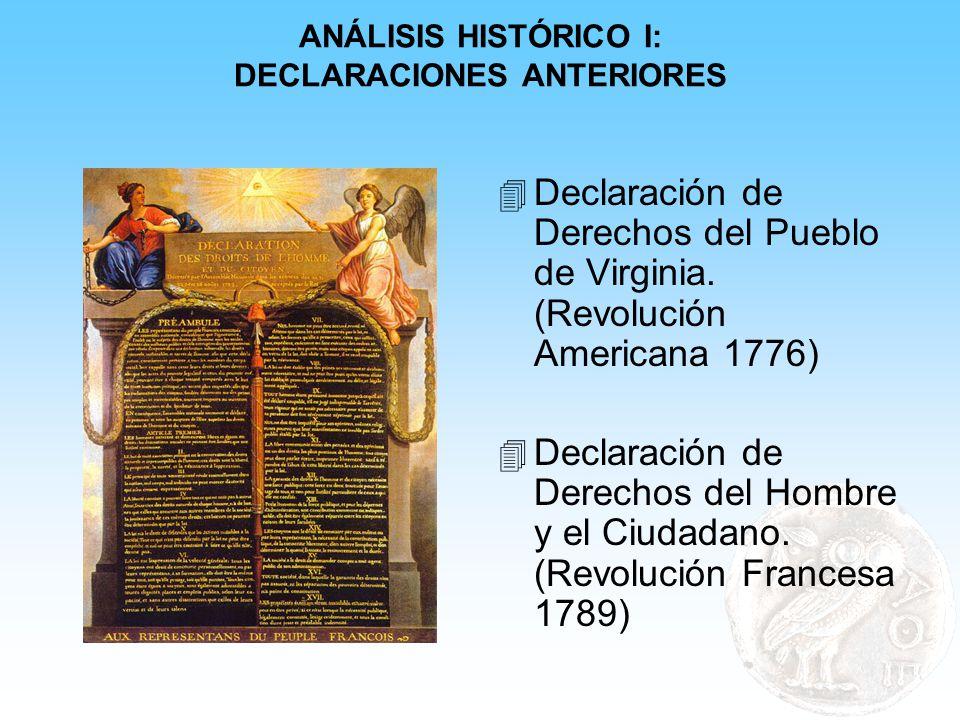 ANÁLISIS HISTÓRICO I: DECLARACIONES ANTERIORES 4 Declaración de Derechos del Pueblo de Virginia. (Revolución Americana 1776) 4 Declaración de Derechos
