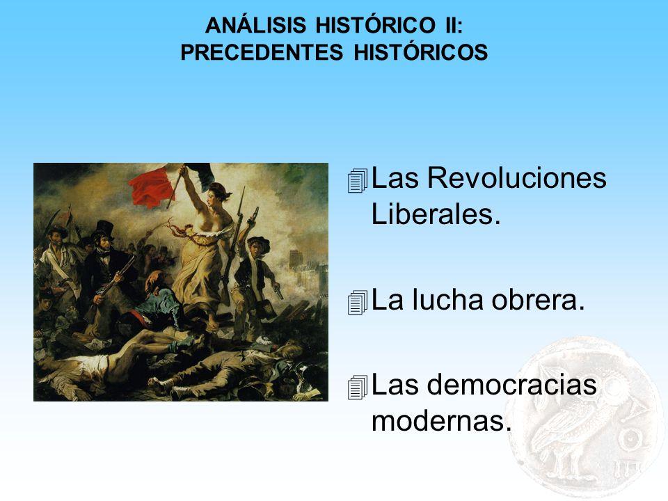 ANÁLISIS HISTÓRICO II: PRECEDENTES HISTÓRICOS 4 Las Revoluciones Liberales. 4 La lucha obrera. 4 Las democracias modernas.