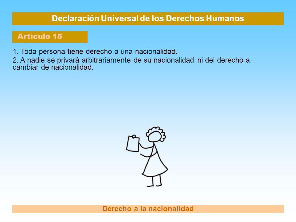 Declaración Universal de los Derechos Humanos Artículo 15 Derecho a la nacionalidad 1. Toda persona tiene derecho a una nacionalidad. 2. A nadie se pr