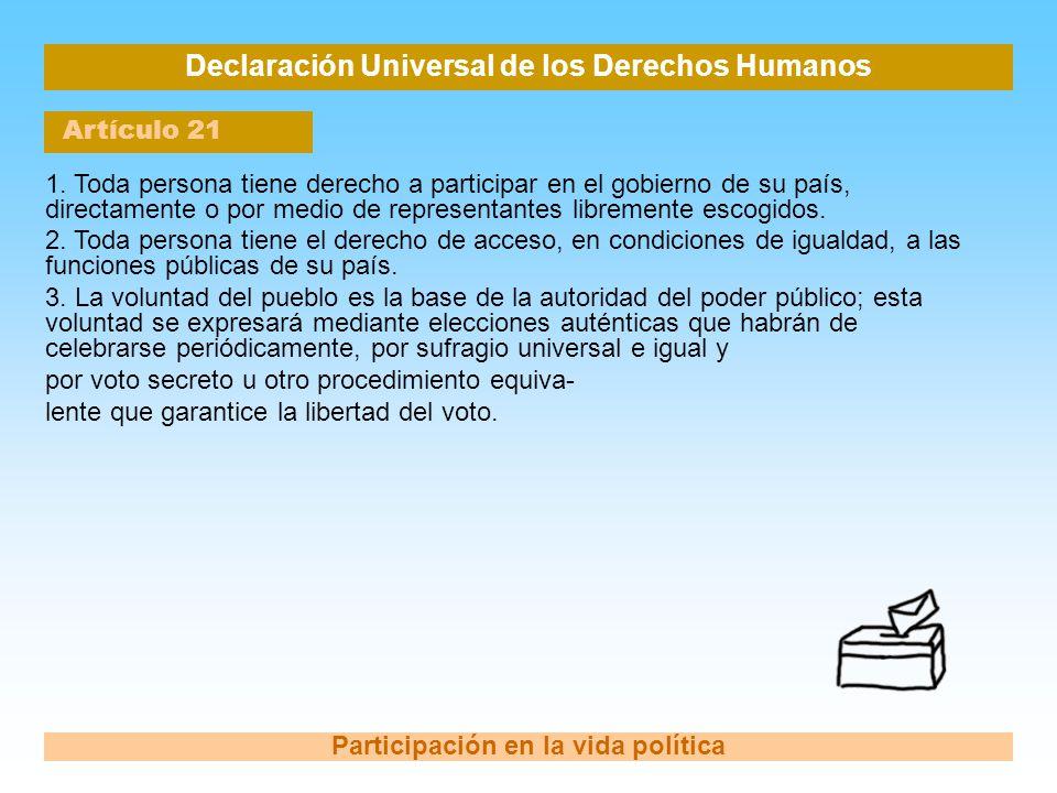 Declaración Universal de los Derechos Humanos Artículo 21 Participación en la vida política 1. Toda persona tiene derecho a participar en el gobierno