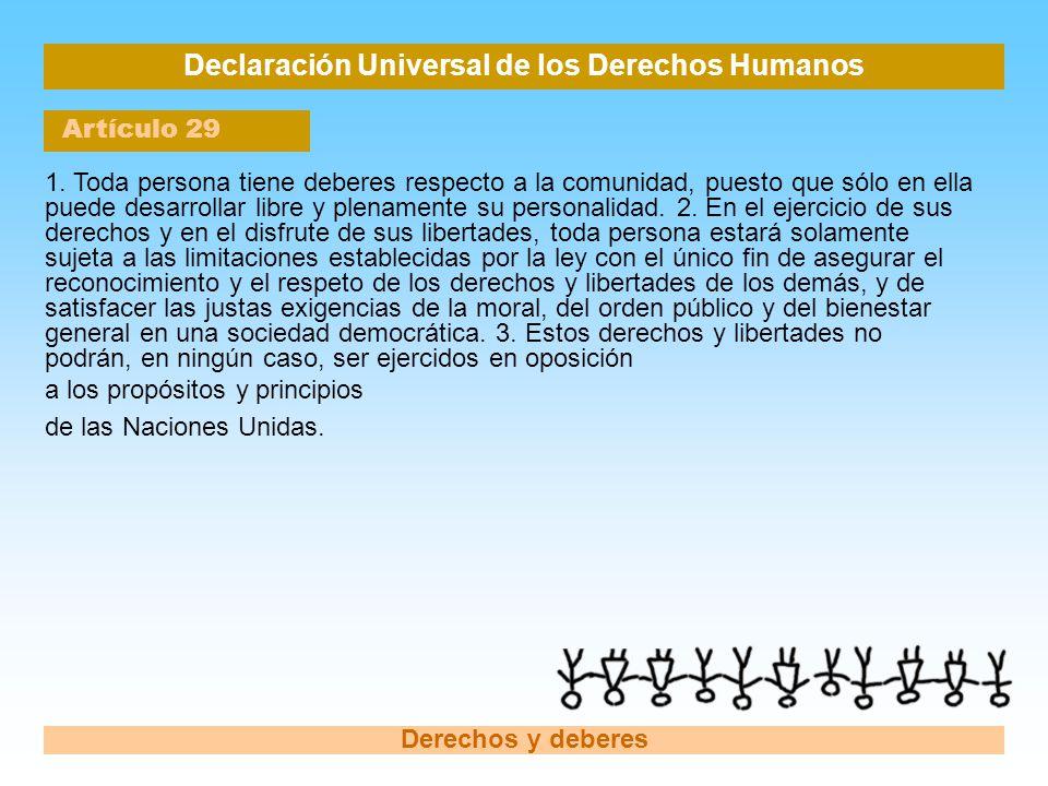 Declaración Universal de los Derechos Humanos Artículo 29 Derechos y deberes 1. Toda persona tiene deberes respecto a la comunidad, puesto que sólo en