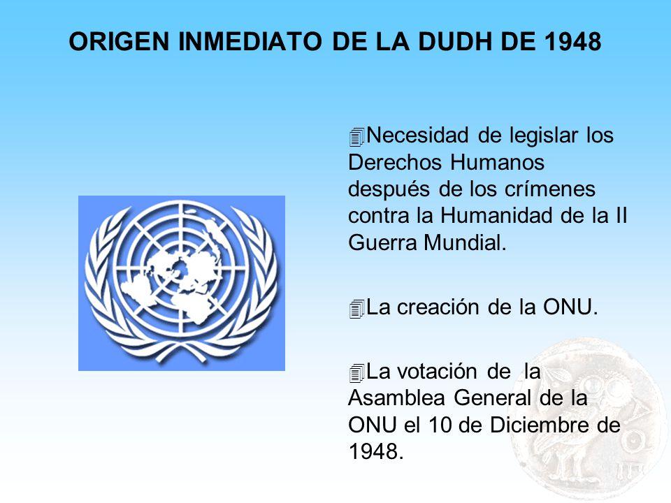ORIGEN INMEDIATO DE LA DUDH DE 1948 4 Necesidad de legislar los Derechos Humanos después de los crímenes contra la Humanidad de la II Guerra Mundial.