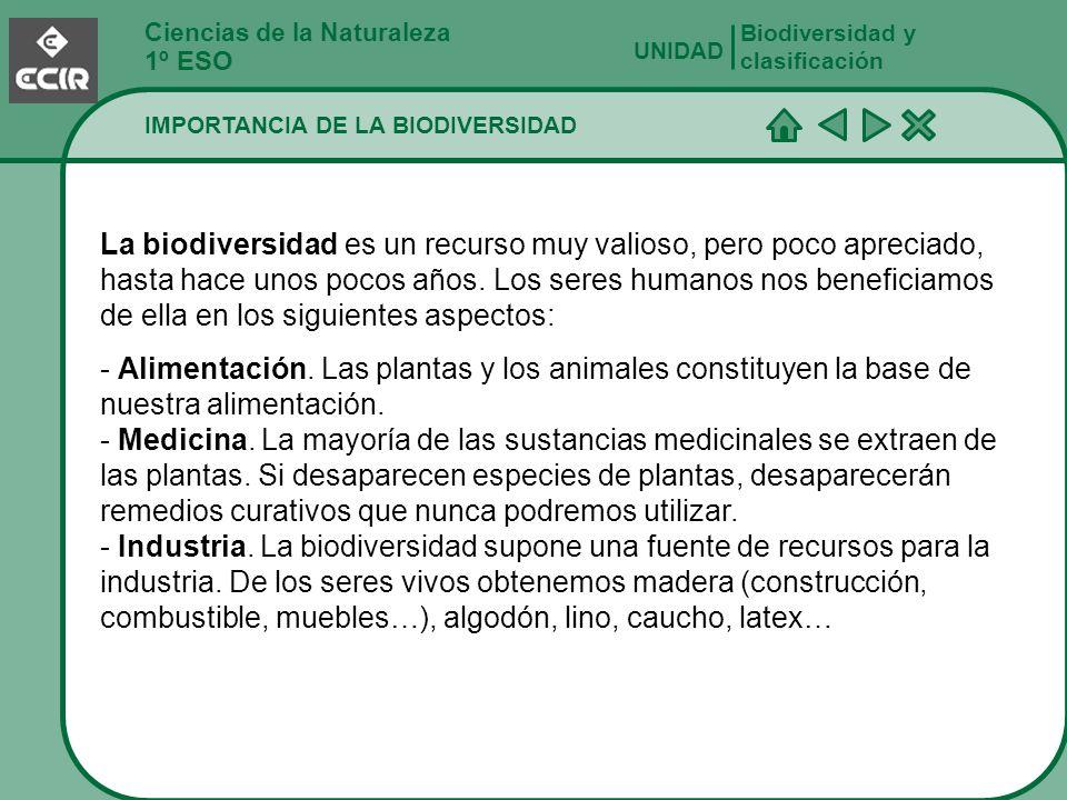 Ciencias de la Naturaleza 1º ESO IMPORTANCIA DE LA BIODIVERSIDAD Biodiversidad y clasificación UNIDAD La biodiversidad es un recurso muy valioso, pero