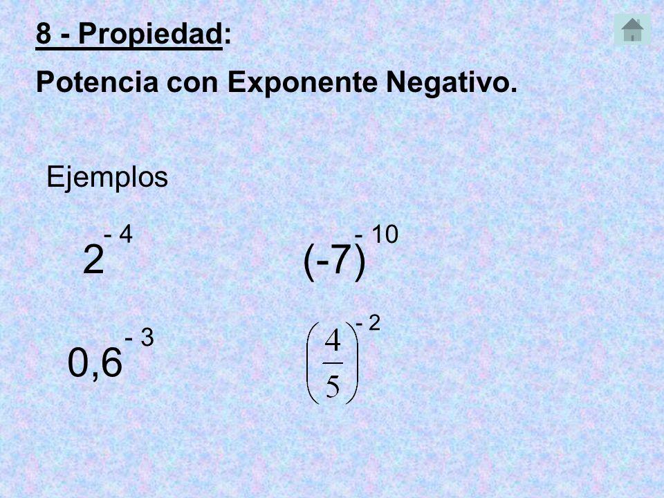 2 - 4 Ejemplos 0,6 - 3 (-7) - 10 - 2 8 - Propiedad: Potencia con Exponente Negativo.