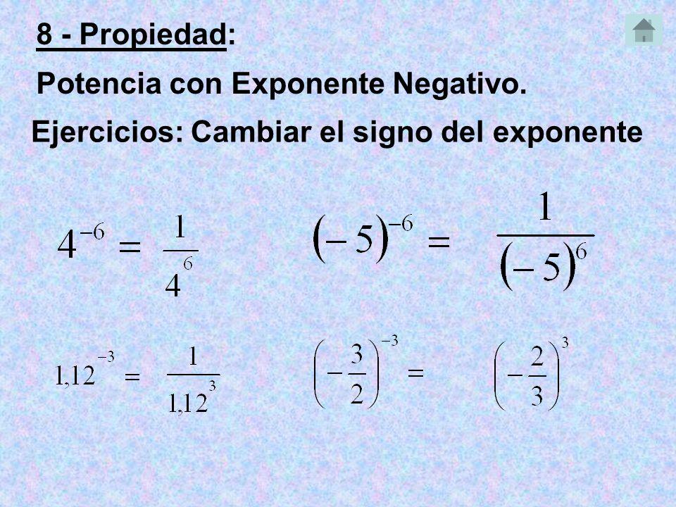 Ejercicios: Cambiar el signo del exponente 8 - Propiedad: Potencia con Exponente Negativo.