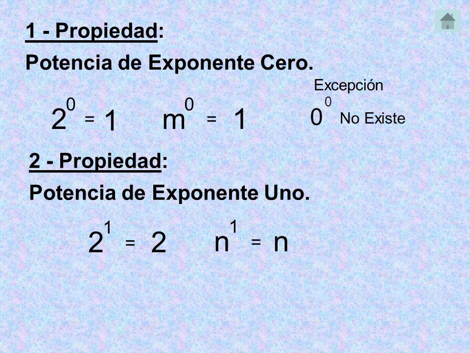 1 - Propiedad: Potencia de Exponente Cero.2 0 = 1 2 - Propiedad: Potencia de Exponente Uno.