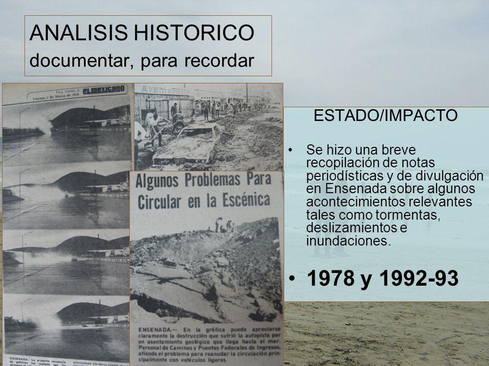 ANALISIS HISTORICO documentar, para recordar ESTADO/IMPACTO Se hizo una breve recopilación de notas periodísticas y de divulgación en Ensenada sobre algunos acontecimientos relevantes tales como tormentas, deslizamientos e inundaciones.