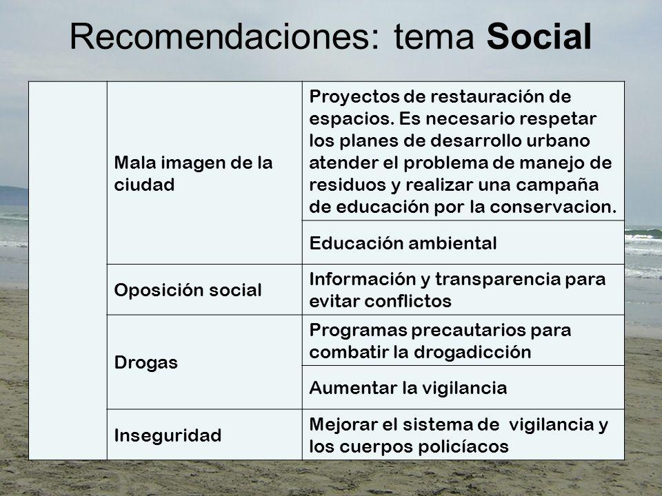 Recomendaciones: tema Social Mala imagen de la ciudad Proyectos de restauración de espacios.