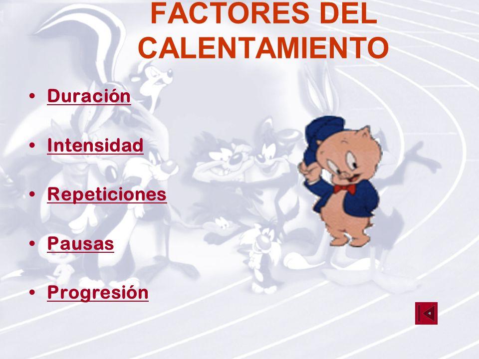 FACTORES DEL CALENTAMIENTO Duración Intensidad Repeticiones Pausas Progresión