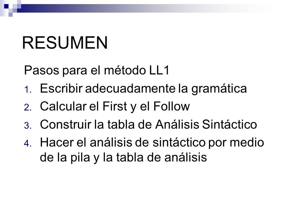 RESUMEN Pasos para el método LL1 1. Escribir adecuadamente la gramática 2. Calcular el First y el Follow 3. Construir la tabla de Análisis Sintáctico
