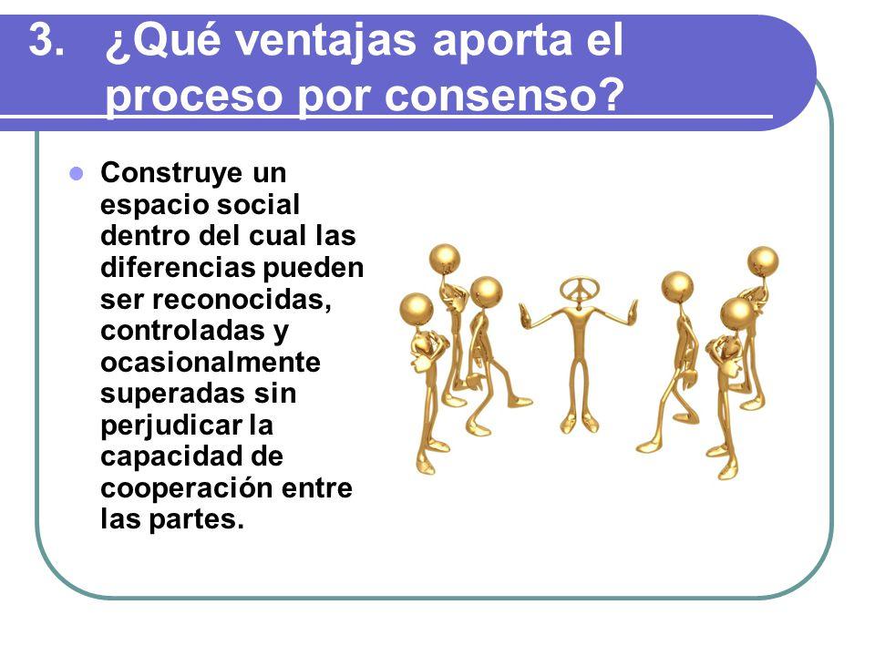 3.¿Qué ventajas aporta el proceso por consenso.