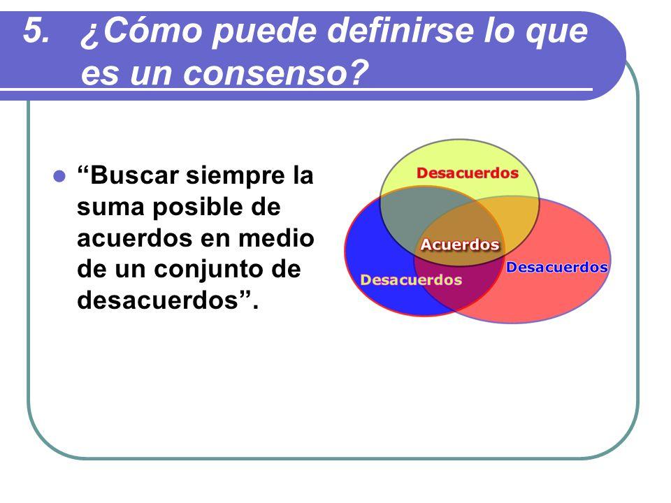 Buscar siempre la suma posible de acuerdos en medio de un conjunto de desacuerdos.