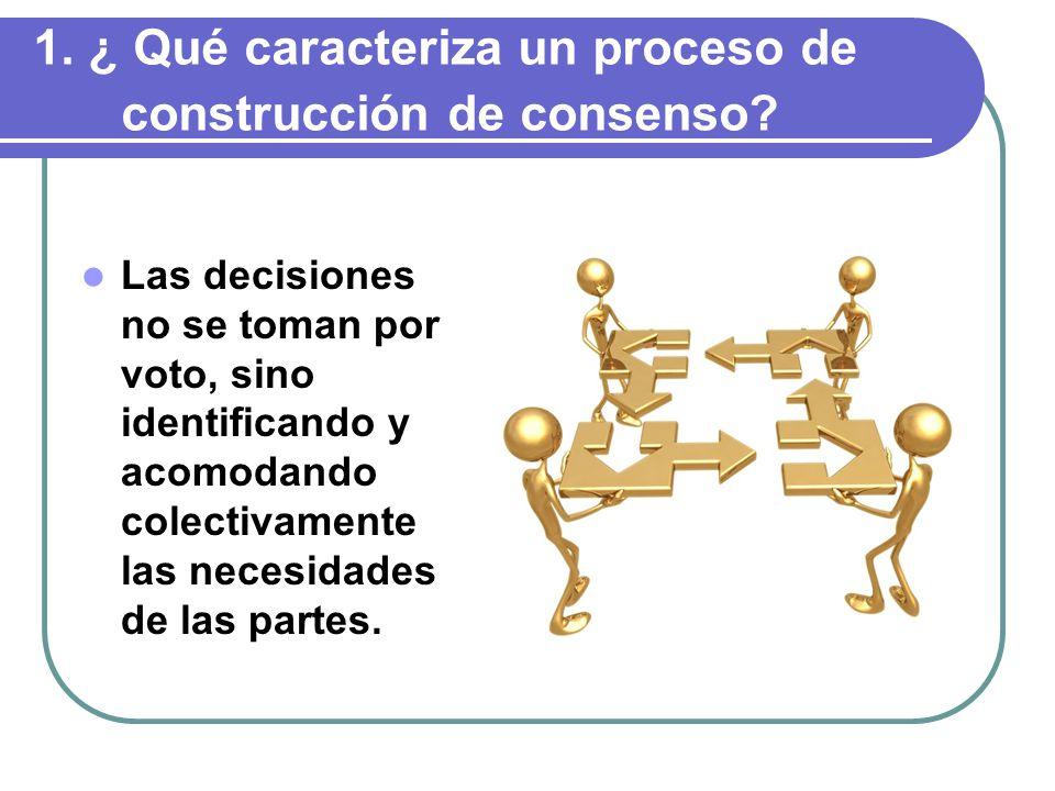 1.¿ Qué caracteriza un proceso de construcción de consenso.