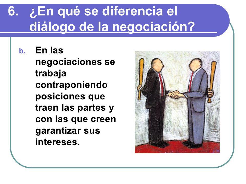 b. En las negociaciones se trabaja contraponiendo posiciones que traen las partes y con las que creen garantizar sus intereses.