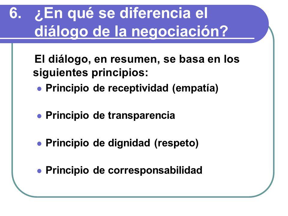 6.¿En qué se diferencia el diálogo de la negociación.