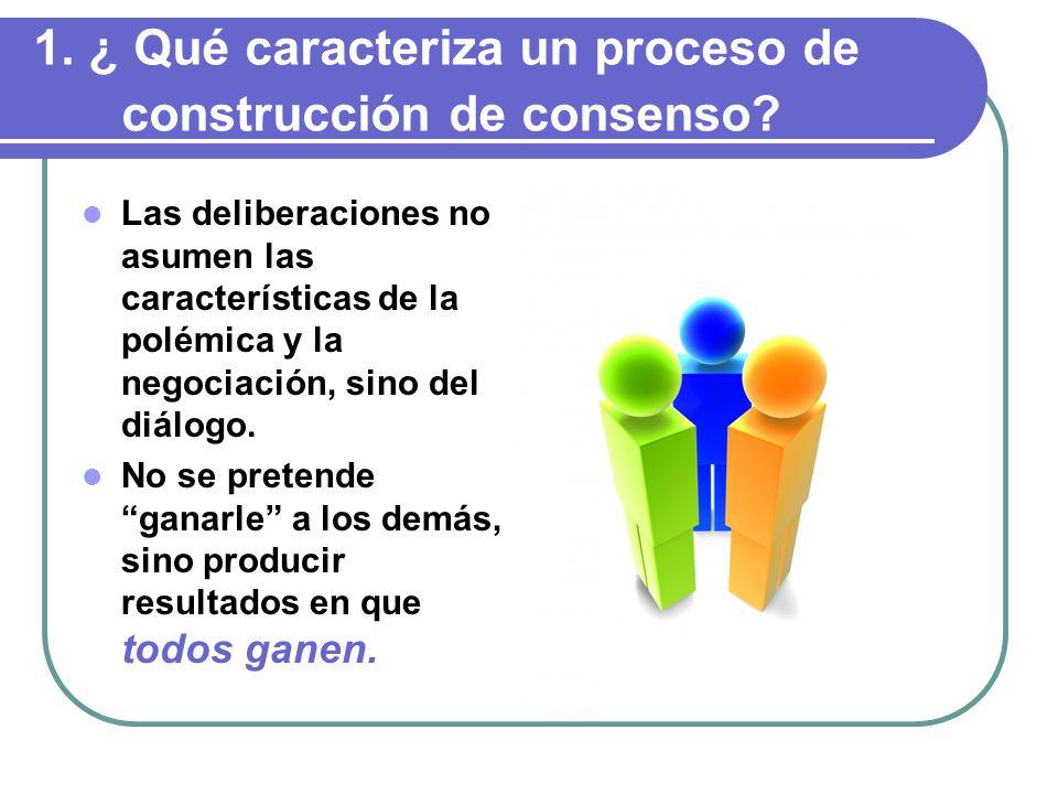Las deliberaciones no asumen las características de la polémica y la negociación, sino del diálogo.